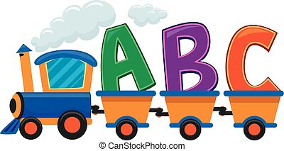 Toy Train with ABC - Colorful Vector Illustration of Train...