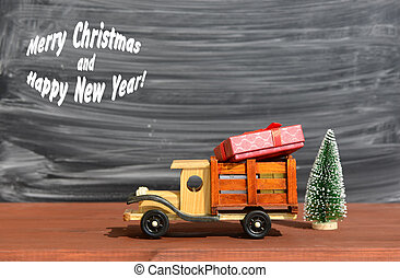Toy Truck Carries Gifts And A Christmas TreeChristmas Background