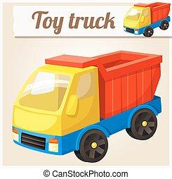 Toy truck. Cartoon vector illustration