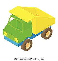 Toy truck icon, cartoon style