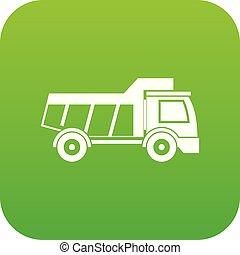 Toy truck icon digital green