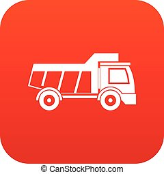 Toy truck icon digital red