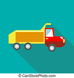 Toy truck icon in flat style