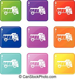 Toy truck icons 9 set