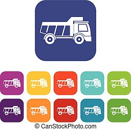 Toy truck icons set flat