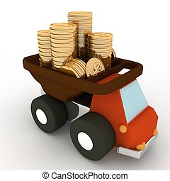 toy truck loaded with coins