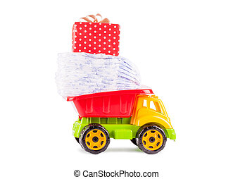 toy truck with a pile of diapers