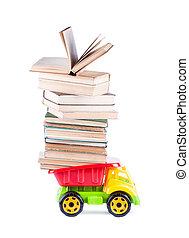 toy truck with a stack of books