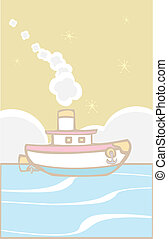 Toy Tugboat - Toy tugboat blows white smoke on the ocean.
