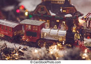 toy vintage steam locomotive decorated Christmas tree