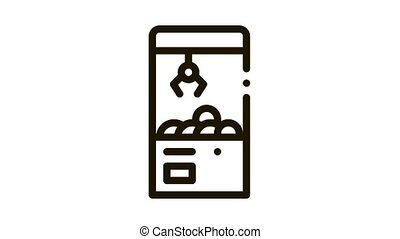 toy win machine Icon Animation. black toy win machine animated icon on white background