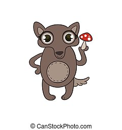 Toy Wolf With Death Cap Flat Vector Icon In Cute Girly Style...