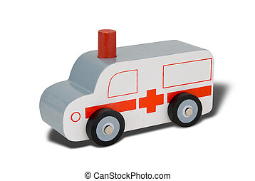 Toy wood ambulance