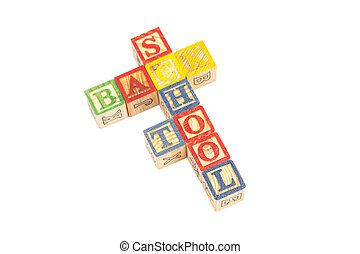 Toy wooden blocks spelling Back To School