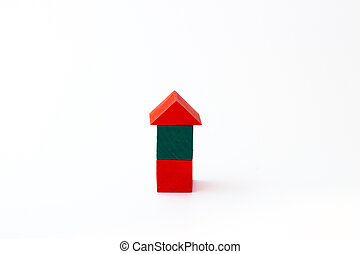 Toy wooden building blocks on white background