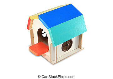 toy wooden house isolated on white background