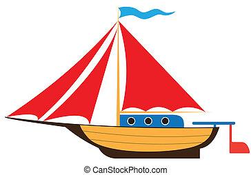 Toy yacht - Illustration of child's toy yacht on white ...