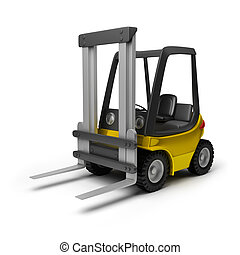 forklift - Toy yellow forklift. 3d image. Isolated white...