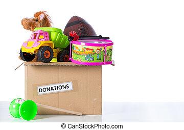 toybox, till, donera