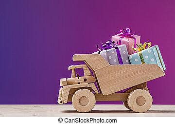 toyen åker lastbil, med, gåva, boxes.