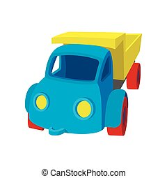 toyen åker lastbil, tecknad film, ikon