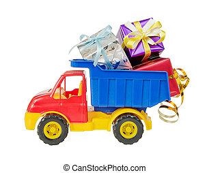 toyen åker lastbil, transporter, gåva boxar