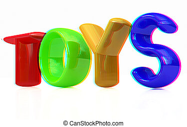 """""""Toys"""" 3d text. Anaglyph. View with red/cyan glasses to see in 3D. 3D illustration"""