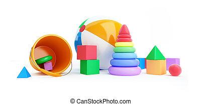 Toys alphabet cube, beach ball, pyramid 3D illustration on a white background