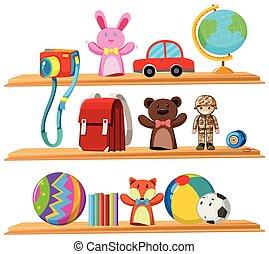 Toys and books on wooden shelves illustration