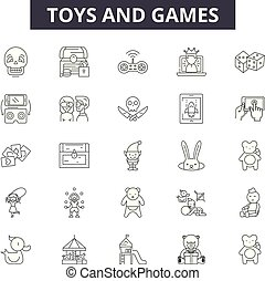 Toys and games line icons, signs set, vector. Toys and games outline concept, illustration: toy,game,play,controller,fun,collection,entertainment