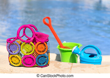 Toys at the swimming pool