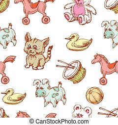 Toys background, seamless pattern for children