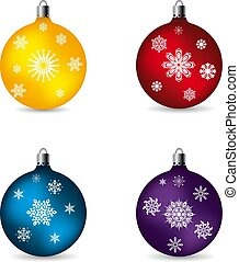 Toys balls for celebratory fur-tree, with patterns of snowflakes, collection on white background,