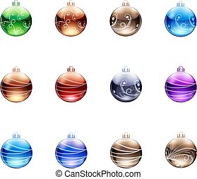 Toys balls on Christmas tree, collection on white background,