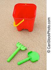 Toys beach in the sand
