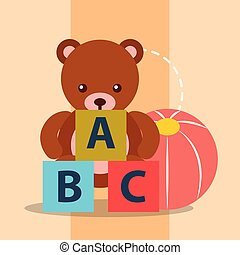 toys bear teddy plastic ball and blocks alphabet
