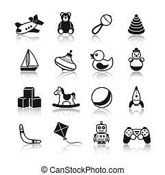 Toys Black Icons Set