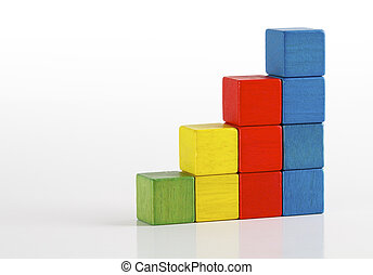 Toys blocks as step stair, multicolor wooden ladder building...