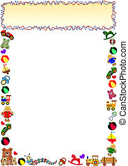 toys border with frame in the top