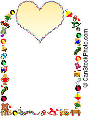 toys border with heart
