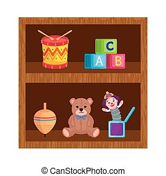 toys child in wooden shelving