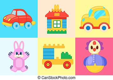 Toys Collection Isolated on Colorful Backgrounds