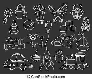 Toys collection isolated on dark background. Set of toys for kids. Vector hand drawn illustration