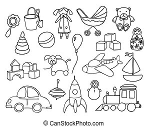 Toys collection isolated on white background. Set of toys for kids. Vector hand drawn illustration