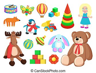 Toys Collection of Factory Vector Illustration