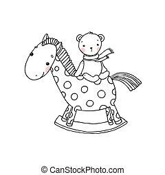 toys., crianças, cavalo, bear.