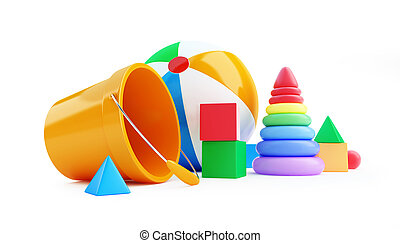 Toys cube, beach ball, pyramid on a white background 3D illustration
