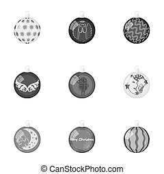 Toys for a Christmas tree monochrome icons in set collection for design. New Year ballsraster, bitmap symbol stock web illustration.
