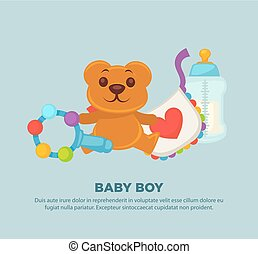 Toys for newborn baby boy on promotional poster
