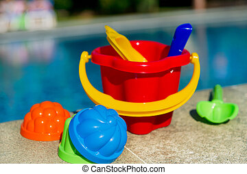 toys, hos, den, badbassäng